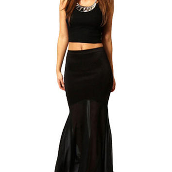 Black Mermaid Maxi Skirt