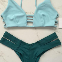 Light Blue Caged Strappy Top X Dark Green Cheeky Bottom Bikini Set