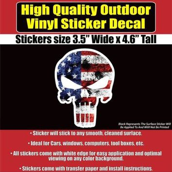 American Flag Punisher Vinyl Car Window Laptop Bumper Sticker decal
