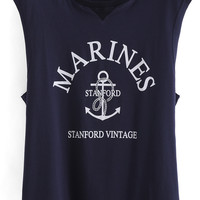Blue MARINES Print Sleeveless Tank Top
