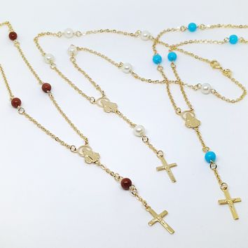 1-3346-g10 Gold Overlay Beaded Rosary Necklace.