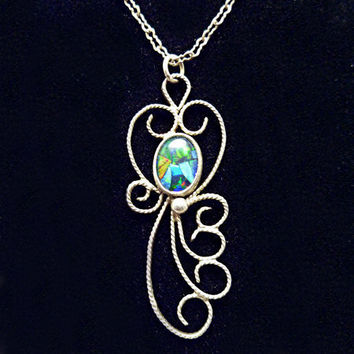 """Sterling Silver Opal Triplet Filigree Necklace """"Plumage"""" - One of a Kind"""