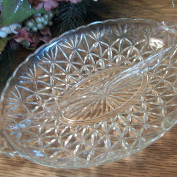 Vintage Pressed Glass Divided Dish Art Deco Candy Nut Relish Serving Tableware Scalloped Edge Handled Platter