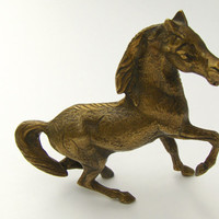 Vintage Brass Horse Figurine Stallion Statue Decor