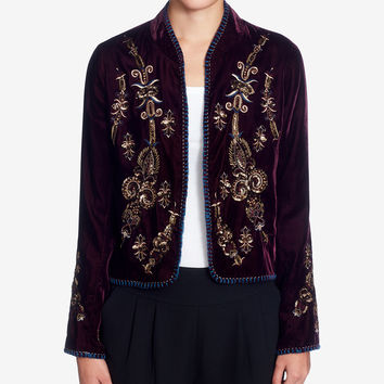 Catherine Catherine Malandrino Winstead Embroidered Velvet Jacket - Jackets - Women - Macy's
