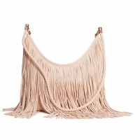 Hobo bag with fringes