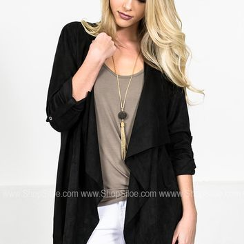 City Suede Black Blazer