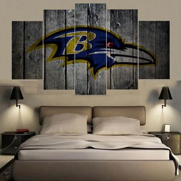 Animal Logo Baltimore Ravens 5 Panel Canvas Painting Calligraphy Sport Ball Poster Wall Art Painting Modern Home Decor Picture