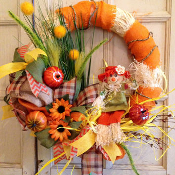 Fall Scarecrow Wreath, Fall Floral Wreath, Fall Straw Scarecrow Wreath, Fall Straw Floral Wreath, Scarecrow Wreath, Burlap Wreath
