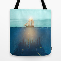 The Underwater City that was destroyed before the whale got to the ship. Tote Bag by Viviana Gonzalez | Society6