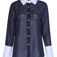 Blue Sheer Stripe Contrast Cuff Long Sleeve Shirt