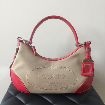 Prada Small Canvas Red Shoulder Bag