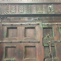 Antique Architecture Double Door Floral Hand Carved Teak Doors