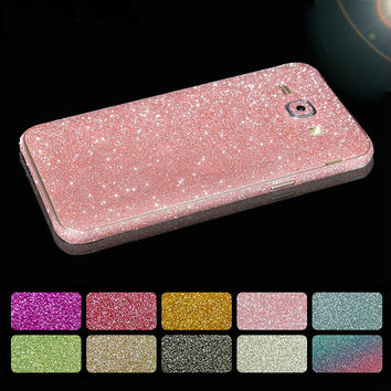 Fashion Glitter Sticker Front Back Cover For Samsung Galaxy A3 A5 A7 J1 J3 J5 J7 2016 Grand Prime S6 S7 Edge Plus Phone Cases
