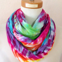 Infinity Scarf Tie Dye Bright Rainbow Colors