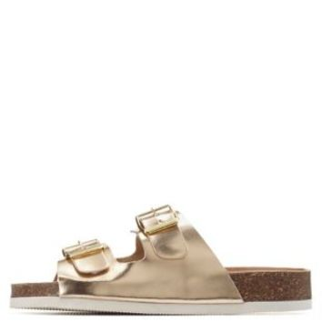 Champagne Metallic Footbed Slide Sandals by Charlotte Russe