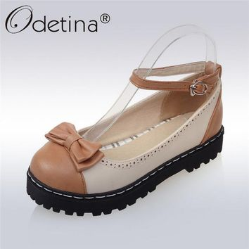 Odetina 2017 Fashion Bowknot Mary Janes Platform Flat Shoes Lolita Bow Tie Women Buckle Strap Flats Round Toe Plus Size 33-43