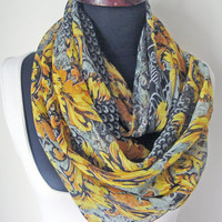 Yellow Grey scarf, Multicolor scarf, Fashion Scarves, Colorful Scarf, Spring Accessories, Holidays Scarf, Spring Scarf, Gift idea for women