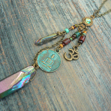 spiritual necklace zen necklace buddha necklace pendant necklace ohm necklace in yoga boho gypsy style