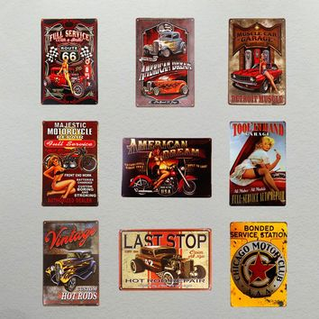 Vintage Garage Tin Metal Signs