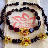 Matching Baltic Healing Amber Baby Flower Necklace and Mommy Flower Bracelet made with 100% Baltic Round and Bean Shaped Amber Bead