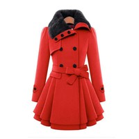 Women Trench Slim Wool Double Breasted Coat