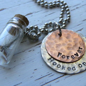 Forever hooked on you - fly fishing necklace - glass jar - copper - silver - distressed - wedding anniversary fathers day gifts