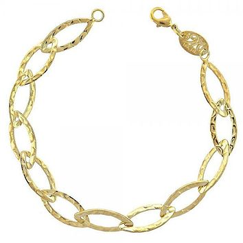Gold Layered 028.007 Basic Bracelet, Leaf Design, Diamond Cutting Finish, Gold Tone