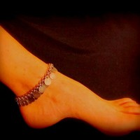 Sexy Summer Anklet - Jingling Gypsy Coins in Antique Silver