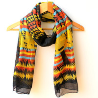 Southwest Scarf LightWeight Aztec Scarf Tribal Scarf Ethnic Scarf Native Scarf Yelow Black Cotton Scarf Beach Pareo Sarong Urban Scarf