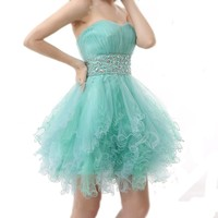 Fashion Plaza Tulle Strapless Homecoming Party Evening Cocktail Prom Dress D0146