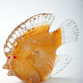 Yellow Glass Hand-Blown Fish