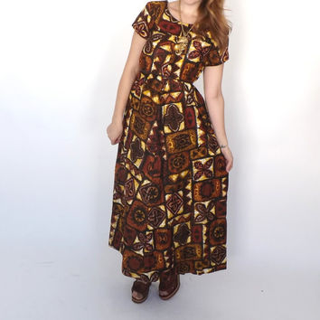 Vintage 1960s Hukilau Fashions Retro Hawaiian Maxi Tiki Dress Medium Sundress Beach Hipster Long Dress Tribal Print Shift Dress 70s Boho