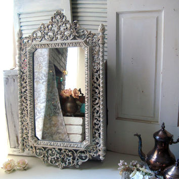 Antique White and Patina Vintage Ornate Mirror, Off White Large Mirror, Hollywood Regency Mirror, Cream Bathroom Mirror, Shabby Chic