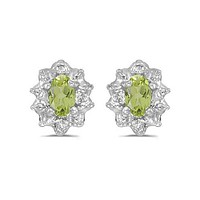14K White Gold Oval Peridot and Diamond Earrings (1/2ct TGW)