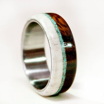 Mens Wedding Band, Wood and Antler with Titanium by StagHeadDesigns