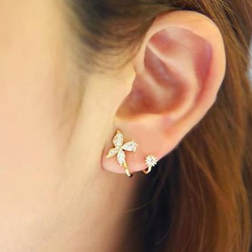 3 Color New Fashion Silver Crystal Earring Butterfly Design Ear Clip For Women Silver Jewelry Gold Color Rose Gold Color