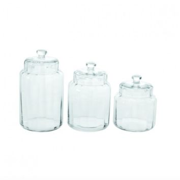 Set of 3 Round Glass Jars