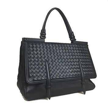 BOTTEGA VENETA Black Intrecciato Woven Nappa Leather Monaco Bag Handbag Purse Tote