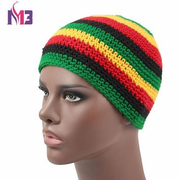 Unisex Casual Women Men Knitted Rasta Hat Winter Warm Handmade Crochet Hats Jamaica Beanie Caps Bob Marley Rasta Reggae Hat