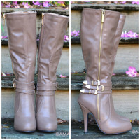 SZ 6.5 City Slicker Tall Chic Taupe Gold Buckle Heeled Boot