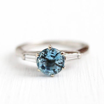 Aquamarine Engagement Ring - Vintage Platinum .80 CT Blue Gemstone & Baguette Diamonds - Size 3 3/4 1950s Mid Century Fine Appraisal Jewelry