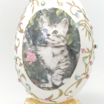Tabby Cat Art Print on Decorated Egg Expressive Kitten Decoration Egg Art Faberge Style Decorated Goose Egg