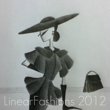 Fashion Illustration 50s New Look Christian Dior Style Suit