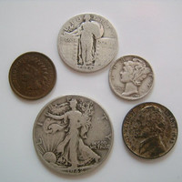 5 US Coin Collection Walking Liberty Half Dollar Mercury Standing Liberty Quarter  War Nickel and Indian Head Penny