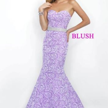 Strapless Fitted Blush Dress 11068