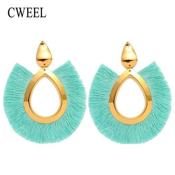 Tassel Earrings Big Fringe Summer Style Bohemian Drop Earrings Colorful