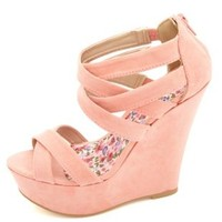 Crisscrossing Strappy Platform Wedge Sandals - Salmon
