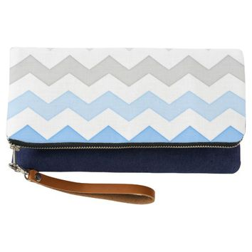 Sea and Land Indigo Clutch
