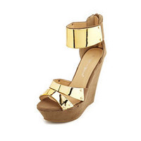 Metallic Ankle-Cuff Wedge Sandal: Charlotte Russe